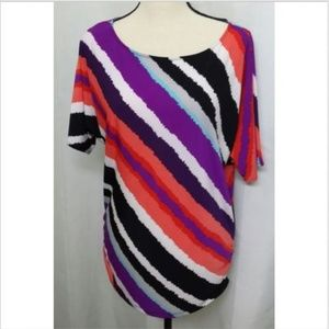 Kasper Multi Colored Diagonal Striped Tunic